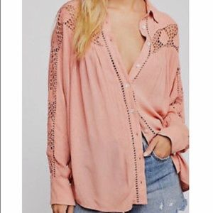 Free People Katie Bird Crochet Inset Shirt